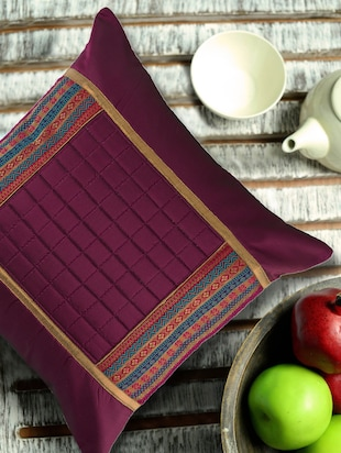 Purple Cushion cover with multicolor border patch