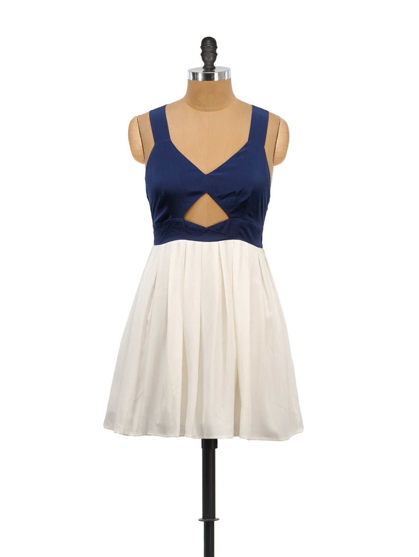 White And Blue Front Keyhole Dress - Schwof
