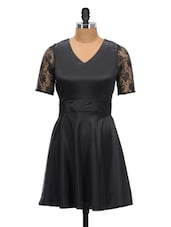Solid Black Dress With Lacy Sleeves - Schwof
