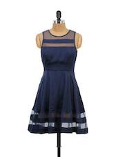 Blue Mesh Panel Dress - Schwof