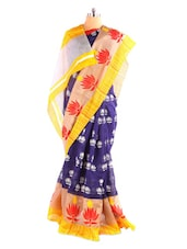 Stunning Lotus Printed Bhagalpuri Silk Saree With Blouse Piece - Riti Riwaz