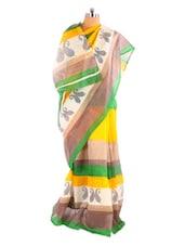Gorgeous Yellow Printed Bhagalpuri Silk Saree With Blouse Piece - Riti Riwaz