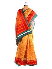 Bright Printed Bhagalpuri Silk Saree With Blouse Piece - Riti Riwaz