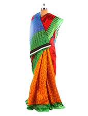 Stylish Printed Bhagalpuri Silk Saree With Blouse Piece - Riti Riwaz