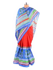 Elegant Red And Blue Printed Bhagalpuri Silk Saree With Blouse Piece - Riti Riwaz