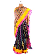 Fantastic Black And Pink Printed Bhagalpuri Silk Saree With Blouse Piece - Riti Riwaz