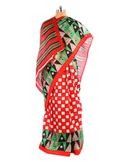 Gorgeous Geometric Printed Red Bhagalpuri Silk Saree With Blouse Piece - Riti Riwaz