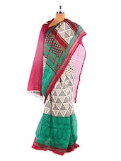 Gorgeous White And Green Printed Bhagalpuri Silk Saree With Blouse Piece - Riti Riwaz