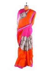 Graceful Pink Printed Bhagalpuri Silk Saree With Blouse Piece - Riti Riwaz