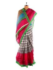 Fantastic Red Printed Bhagalpuri Silk Saree With Blouse Piece - Riti Riwaz