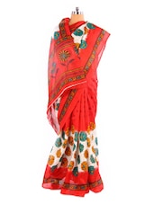 Gorgeous Floral Patterned Printed Bhagalpuri Silk Saree With Blouse Piece - Riti Riwaz