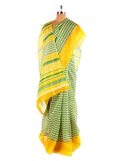 Stunning Yellow Printed Bhagalpuri Silk Saree With Blouse Piece - Riti Riwaz