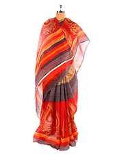 Elegant  Red Printed Bhagalpuri Silk Saree With Blouse Piece - Riti Riwaz