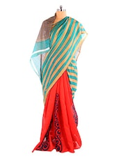 Gorgeous Green And Red Printed Bhagalpuri Silk Saree With Blouse Piece - Riti Riwaz