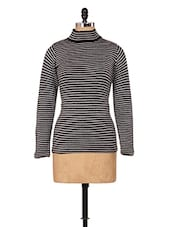 Grey And Black Striped Top - Renka