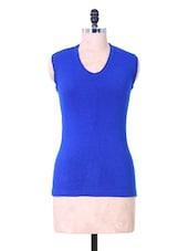 Blue Sleeveless Winter Top - Renka