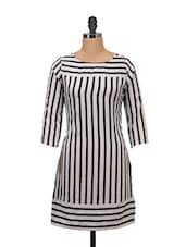 White And Black Striped Dress - Meira