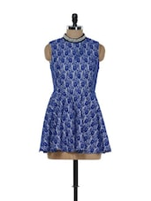 Blue Floral Lace Dress - Ozel Studio