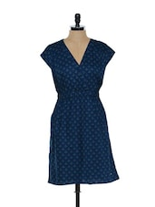 Navy Blue Printed Dress - Ozel Studio