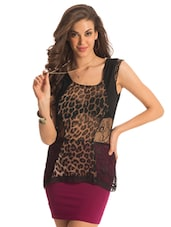 Animal Print Panel Lace Top - PrettySecrets