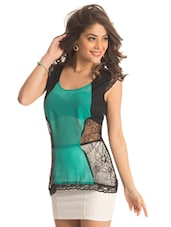 Sea Green Panel Lace Top - PrettySecrets
