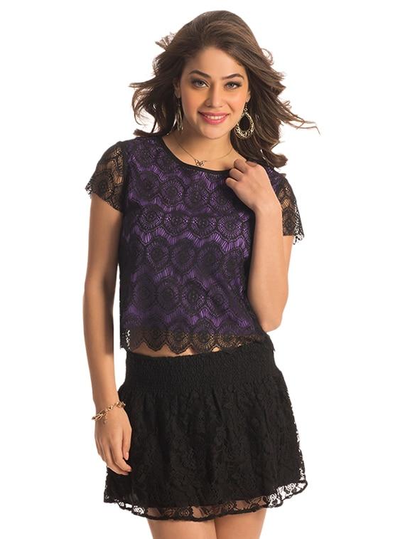 Purple Lace Crop Top - PrettySecrets