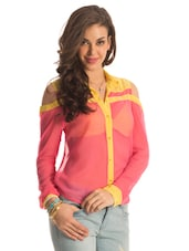 Pink Sheer Shirt With Yellow Trims - PrettySecrets