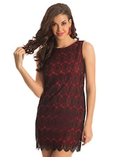 Red And Black Sensuous Lace Dress - PrettySecrets