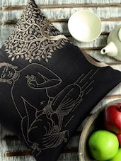 Buddha Under Bodhi Tree Embroidered Black And Gold Cushion Cover - 13 Odds