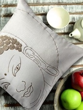 Buddha Face Embroidered White And Gold Cushion Cover - 13 Odds