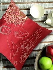 Buddha Under Bodhi Tree Embroidered, Red And Gold Cushion Cover - 13 Odds