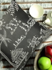 Warli Art Embroidered Grey And Silver Cushion Cover - 13 Odds