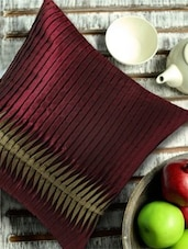 Contemporary Style Reverse Pleating Technique, Maroon And Gold Cushion Cover - 13 Odds