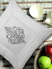 Embroidered White & Silver Cushion Cover - 13 Odds