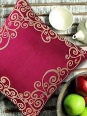 Filigree Embroidered Magenta & Golden Cushion Cover - 13 Odds