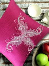 Stylized Butterfly Embroidered Blue & Silver Cushion Cover - 13 Odds