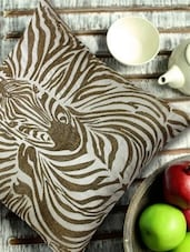 Zebra Illusion In White & Gold Embroidered Cushion Cover - 13 Odds