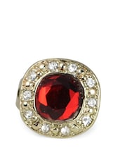 Red Gemstone Ring With American Diamonds - Femnmas