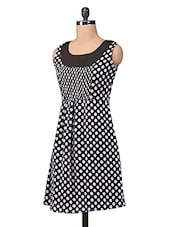 Black And White Georgette Polka Dots Dress - By
