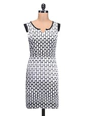 Black And White Polyknit Printed Dress - By