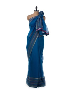 Blue striped border chanderi cotton saree - URBAN PARI
