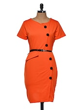 Faux Overlap Orange Midi Dress With Belt - Dress Kart