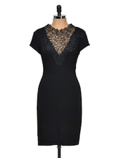 Black Pencil Dress With Lace Neck - Dress Kart