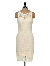 Beige Lace Midi Dress - Dress Kart