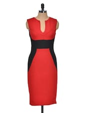 Red Contrast Panel Bodycon Dress - Dress Kart