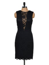 Lace Insert Midi Dress With Bare Back - Dress Kart
