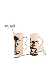 Ivory Stainless Steel Quirky Mug Set Of 2 - Arttdinox