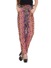 Multicoloured Chevron Print High-waist Pants - Miss Chase