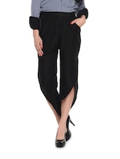 Solid Black Polyester Pants - Miss Chase