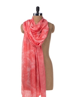 Tie & Dye Pashmina Stole In Pink - URBAN PARI